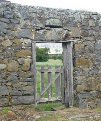 Anne Latreille - Gate through stone wall