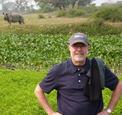 At Kaziranga NP. At this moment, I didn't know the rhino would cross the swamp later that day!