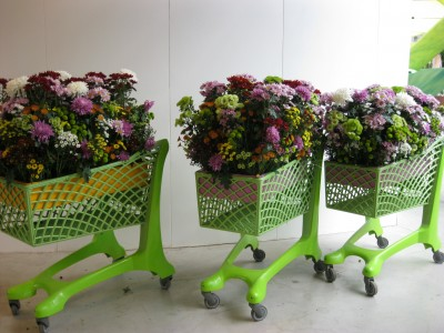Clever display ideas where everywhere, like these flower 'shopping trolleys'