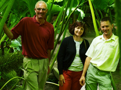 Ray Townsend, Lynda & Darren Dickey under towering Gunnera