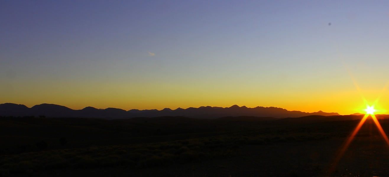 Sunset behind Wilpena Pound