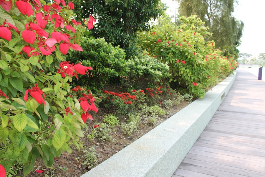 Wide retaining walls suitable for seating
