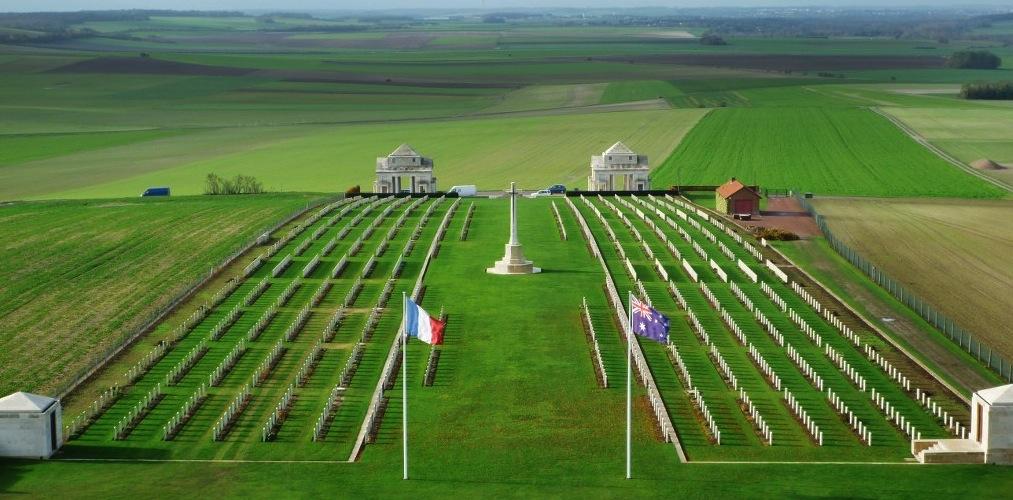 Villers Bretonneaux after its hornbeam trees were removed CWGC