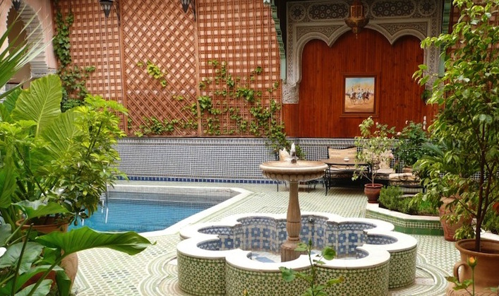 The-courtyard-at-the-Riad-Jaouhara-included-a-fountain-and-a-pool.1