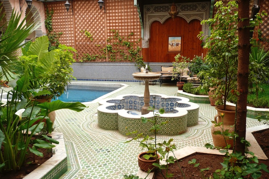 The courtyard at the Riad Jaouhara included a fountain and a pool.