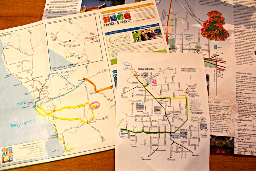 Geraldton maps covered with helpful fluoro pen