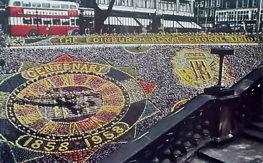Edinburgh's famous floral clock in 1958