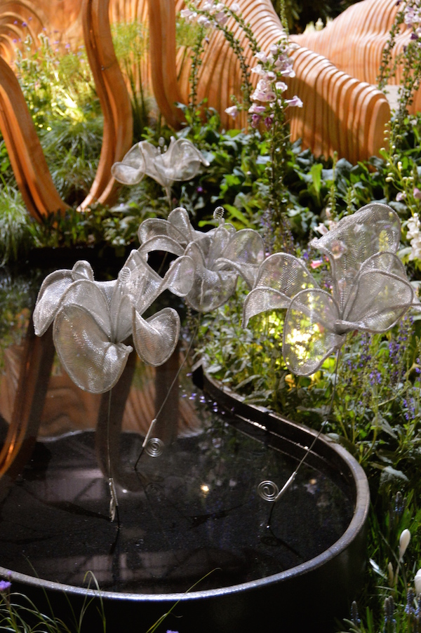 Handmade metal flowers. Design Leon Kluge. 'A Maleficent View' show garden.