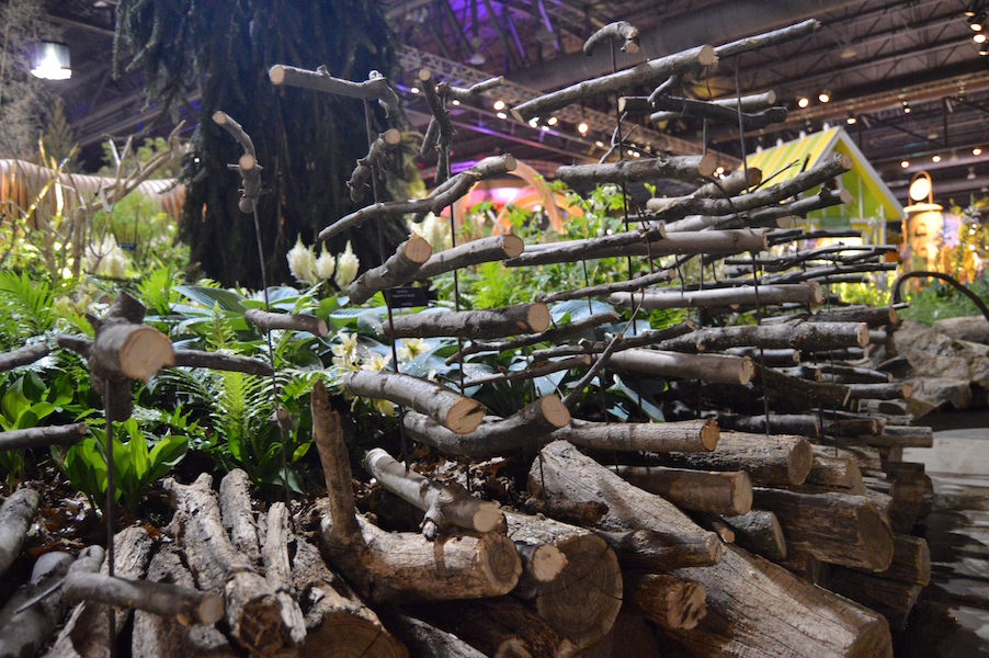Floating sticks represent Maleficent's angry side. Sculpture for 'A Maleficent View' Design Leon Kluge. Best in Show Landscape at Philadelphia Flower Show 2015