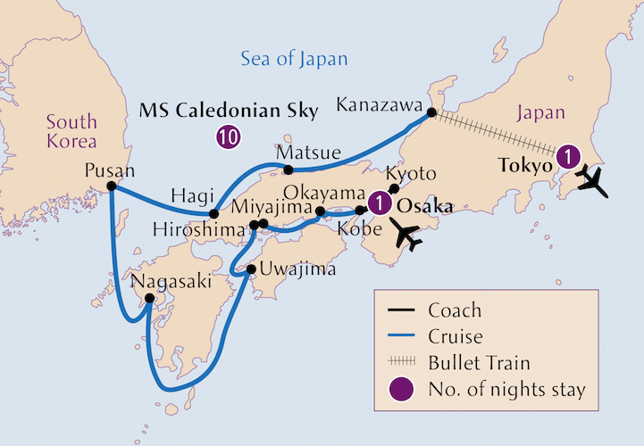 Botanica Japan And South Korea Cruise Map Garden Travel Hub - Japan map korea