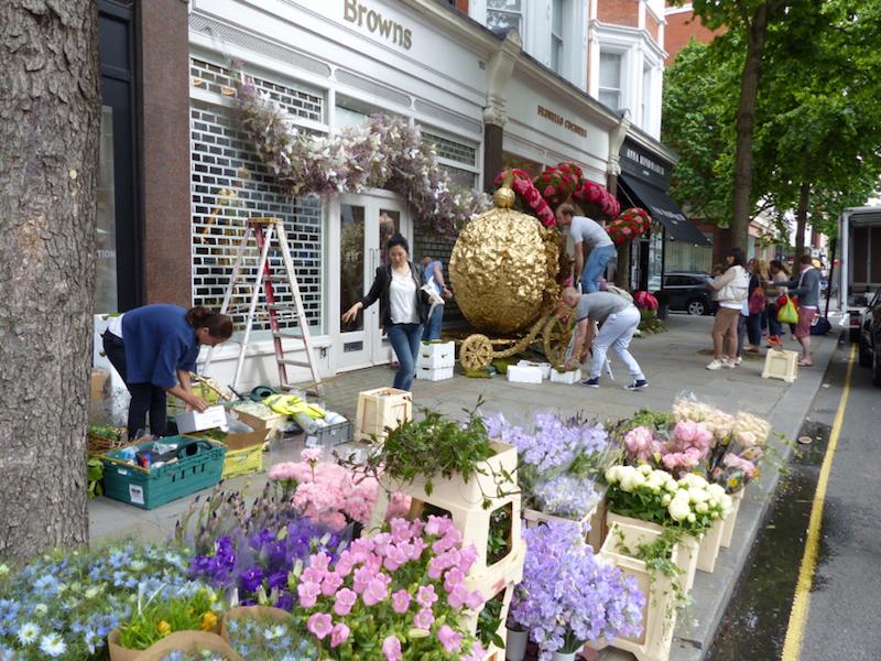 Cinderella exhibit outside Brown's in Sloane Square, London