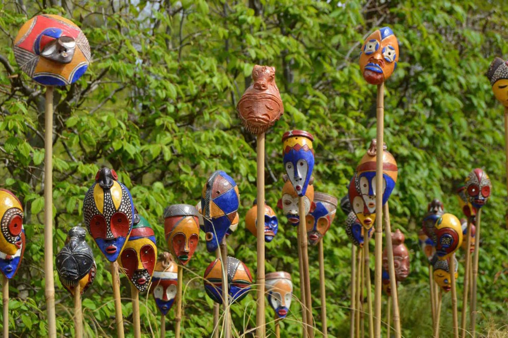 Passport masks in 'African Kitchen' garden, design Leon Kluge
