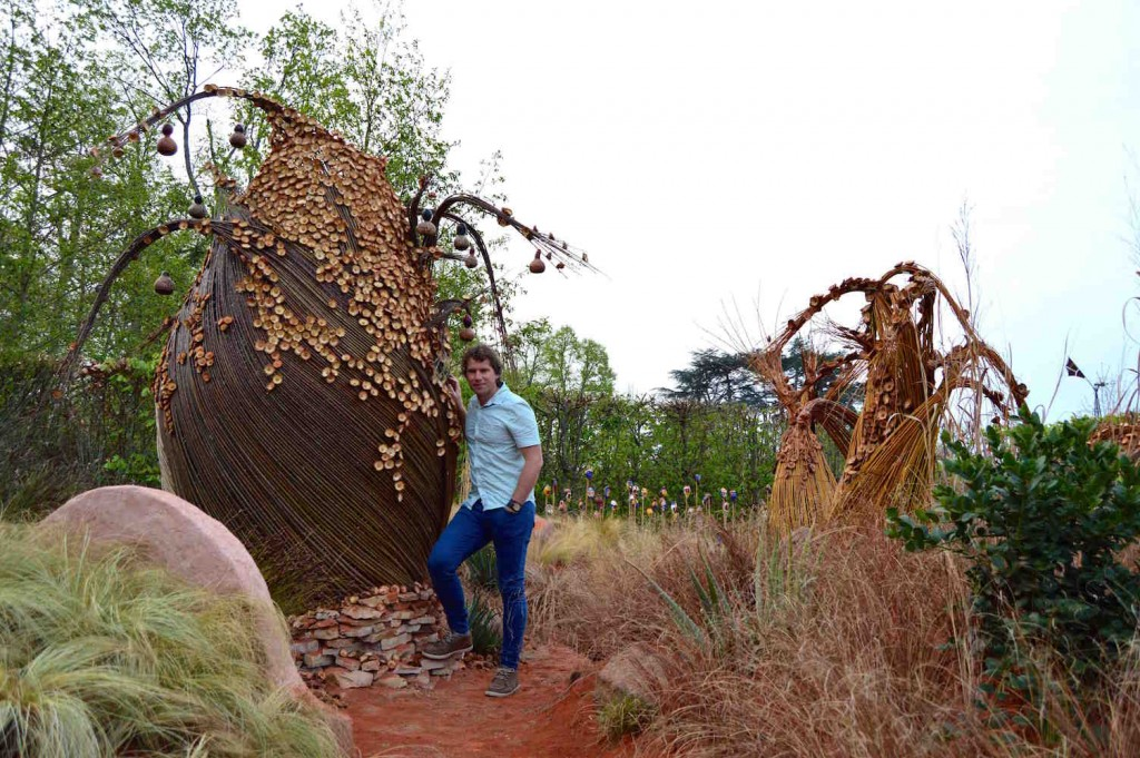 With the baobab sculpture in 'African Kitchen' garden