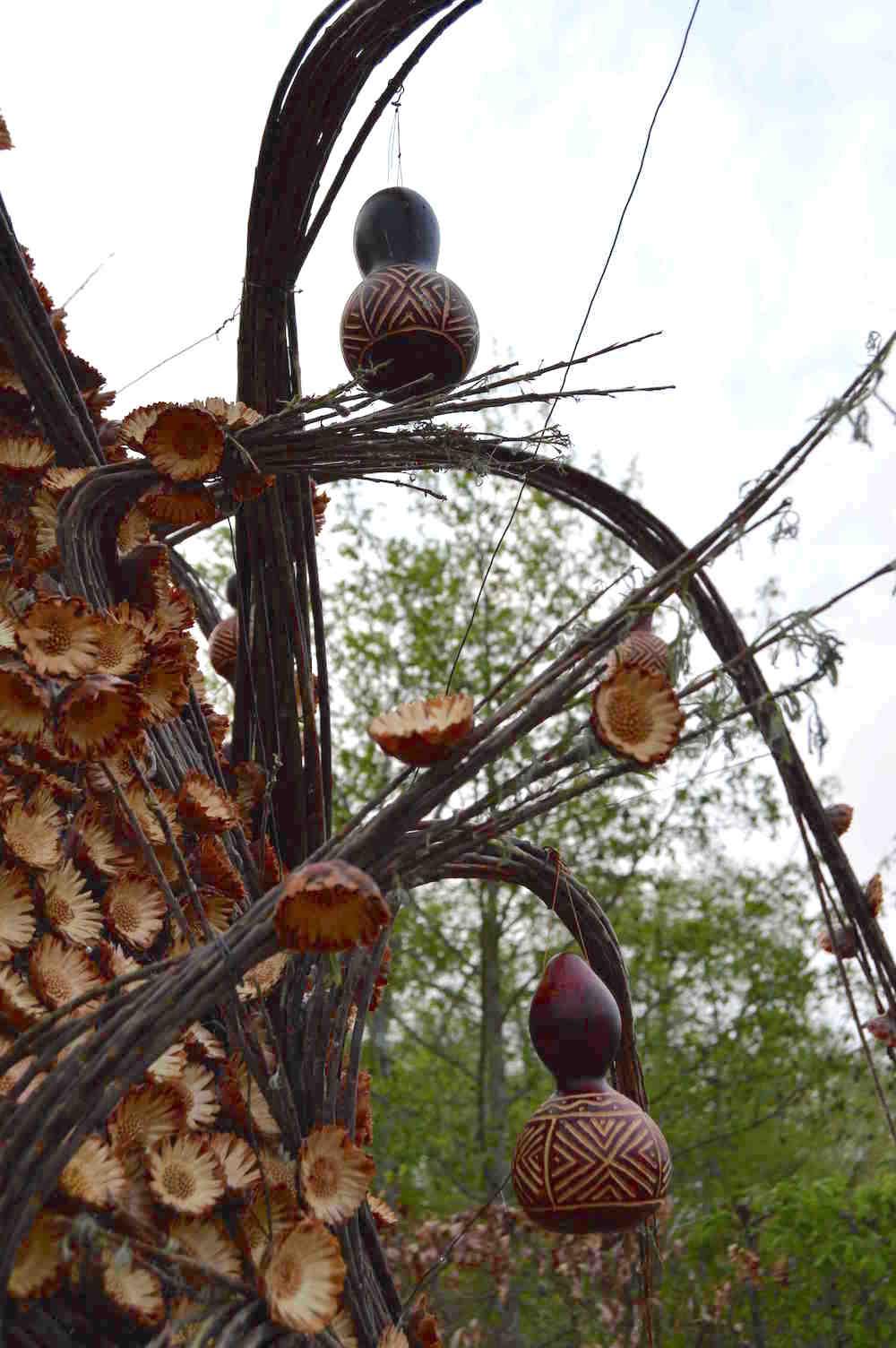 Protea seedheads and gourds in 'African Kitchen' garden, design Leon Kluge