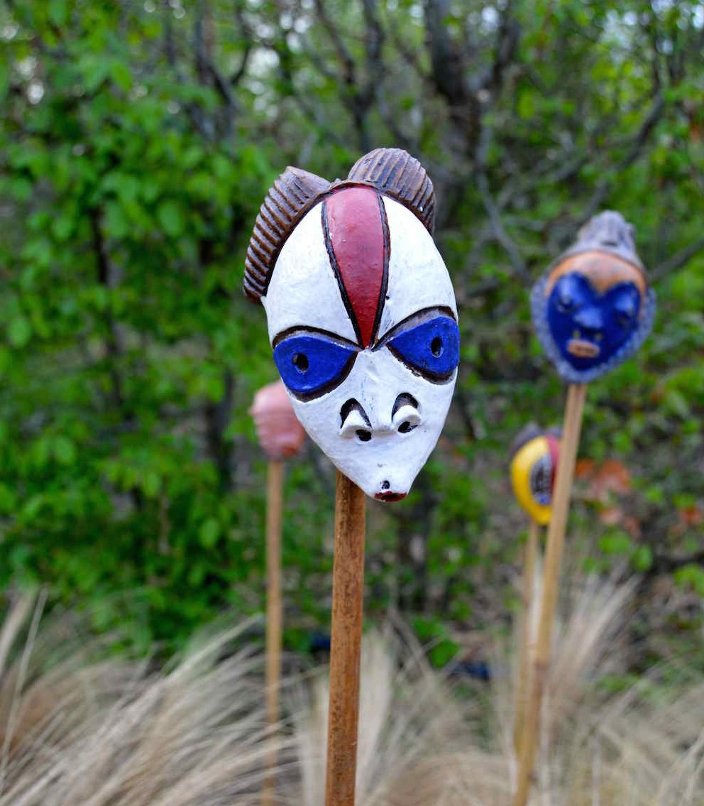 Passport mask in 'African Kitchen' garden, design Leon Kluge