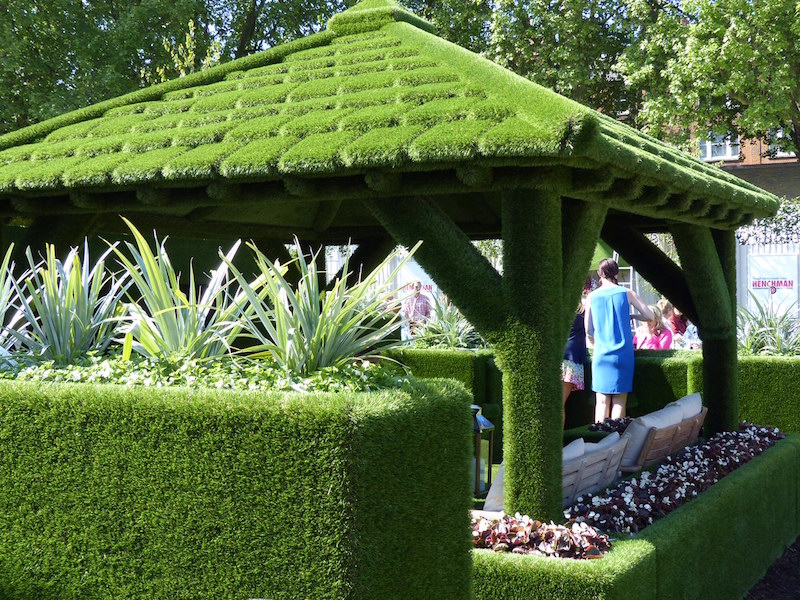 Fake turf hut at the Chelsea Flower Show