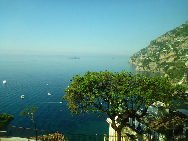 Panoramic views of the azure blue seas, Amalfi Coast