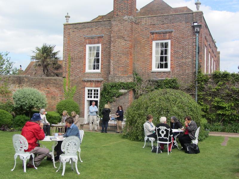 My garden tour fellow travellers enjoy the garden at Lamb House, in Rye