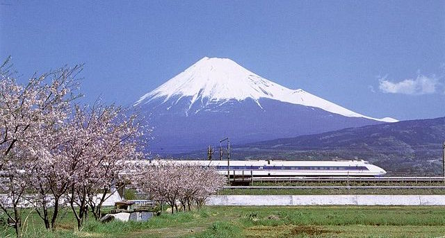 Bullet train in front of Mount Fuji, Japan
