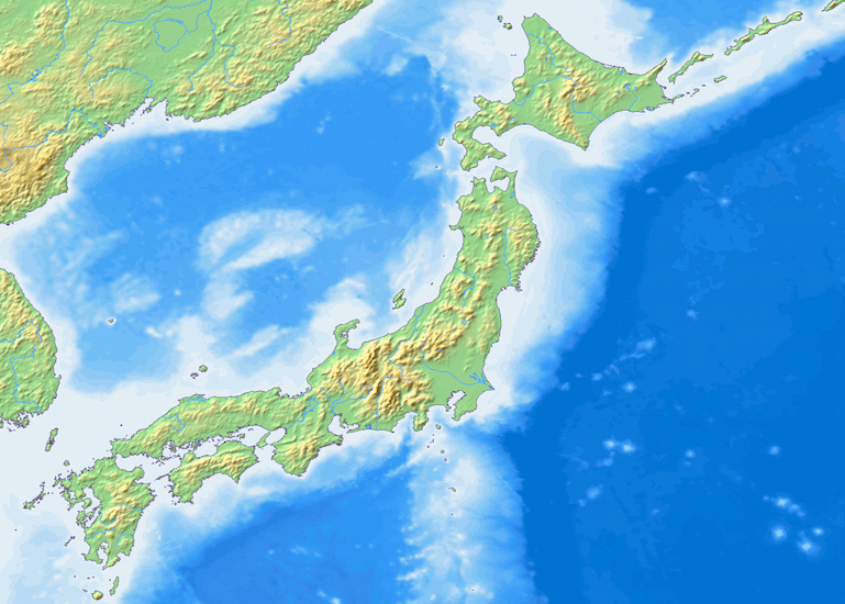 Topographic map of Japan from Wikimedia Commons