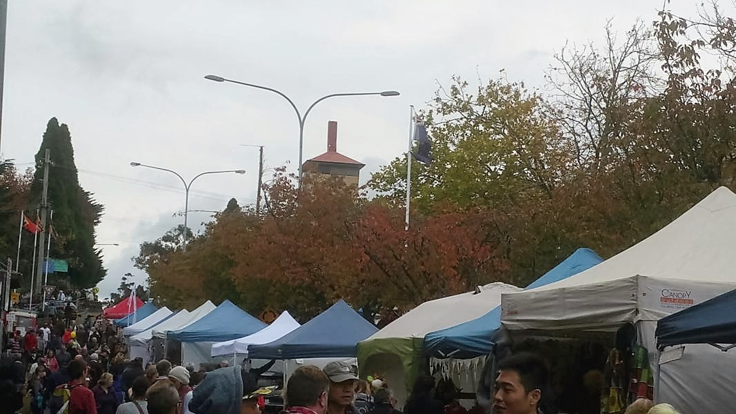 Stalls in Leura Mall at the Leura Harvest Festival