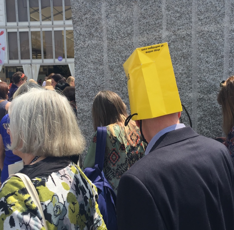 Impromptu head wear at the Chelsea Flower Show 2016