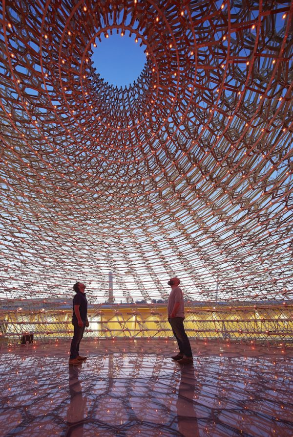 UK Pavilion internal shot at dusk, Courtesy of UKTI, Photographer Credit - Hufton+Crow