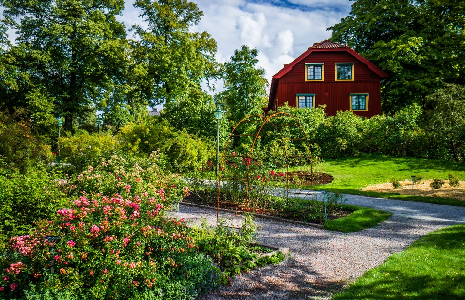Farmhouse and garden in Skansen Open Air Museum, Djurgården
