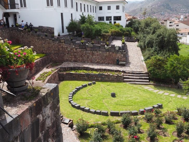 Beautiful gardens at the Converto de Santo Domingo Del Cusco, built on the foundations of Quirkancha (The Temple of the Sun), the most important temple in the Inca world.