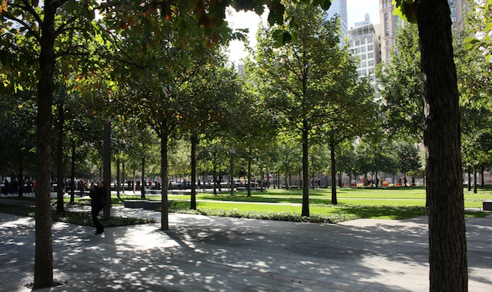 World Trade Center Memorial park in New York City copy
